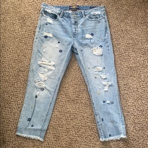 Luncky Brand jeans, flower embroidered